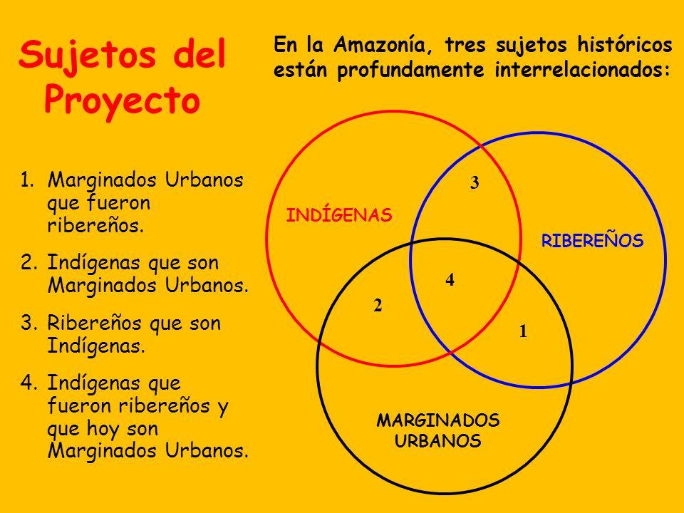 Sujetos del ProyectoEn la Amazonía, tres sujetos históricos están profundamente interrelacionados: INDÍGENAS.