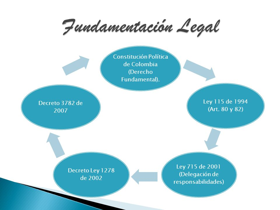 Fundamentación Legal Constitución Política de Colombia (Derecho Fundamental). Ley 115 de 1994 (Art. 80 y 82)