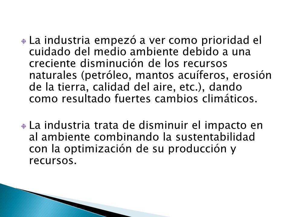 La industria empezó a ver como prioridad el cuidado del medio ambiente debido a una creciente disminución de los recursos naturales (petróleo, mantos acuíferos, erosión de la tierra, calidad del aire, etc.), dando como resultado fuertes cambios climáticos.