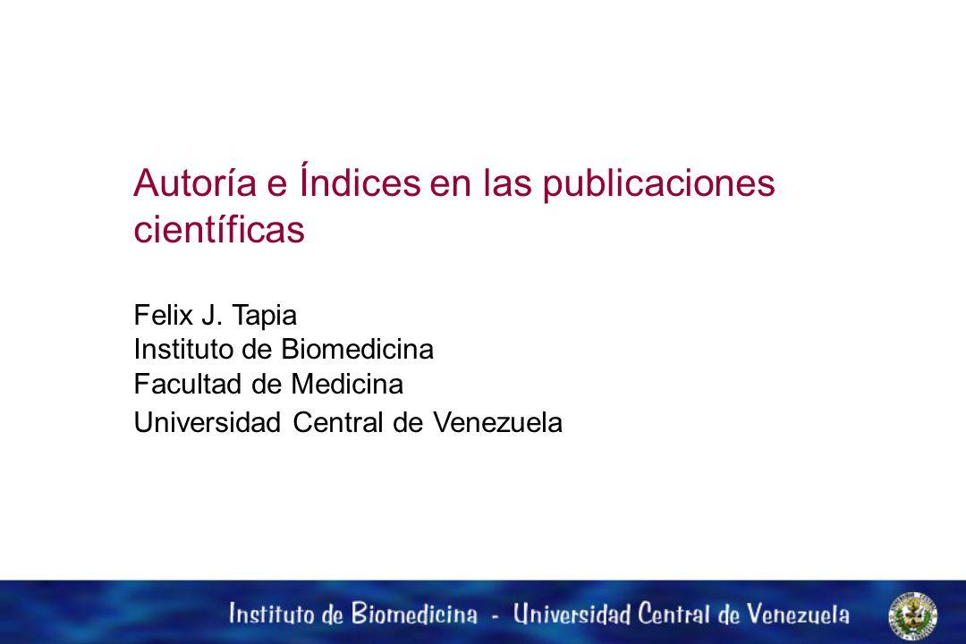 Autoría e Índices en las publicaciones científicas