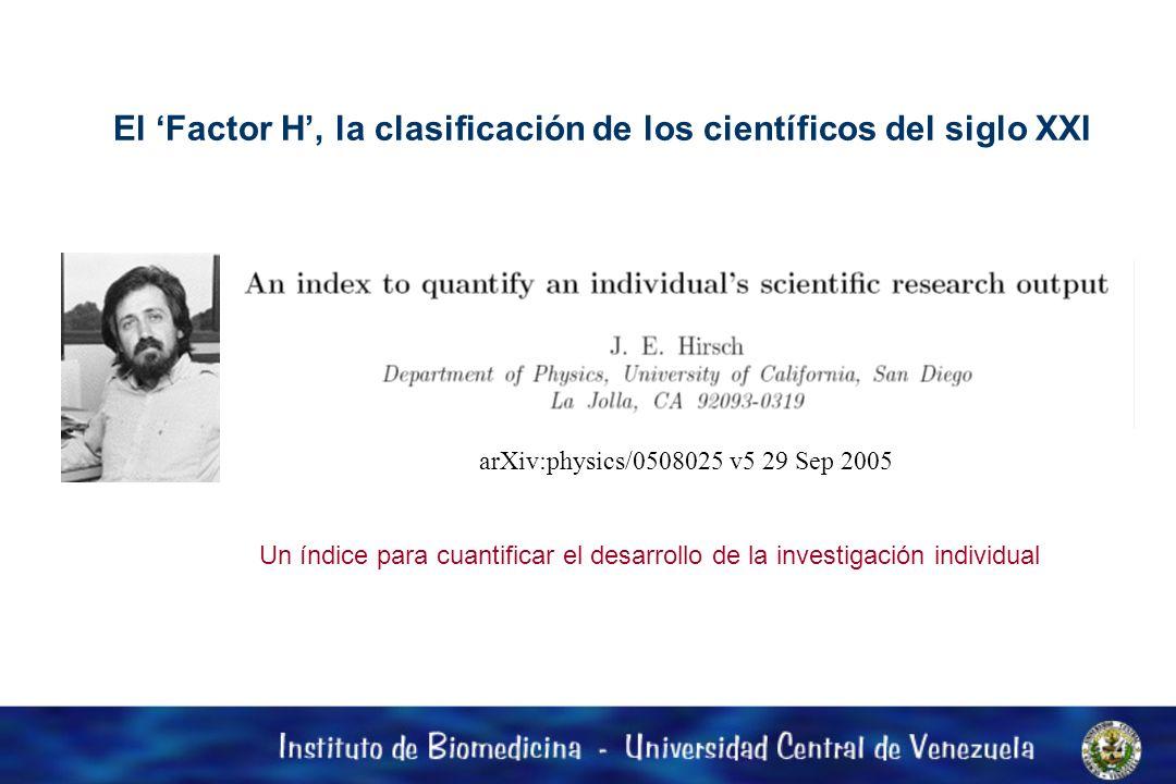 El 'Factor H', la clasificación de los científicos del siglo XXI
