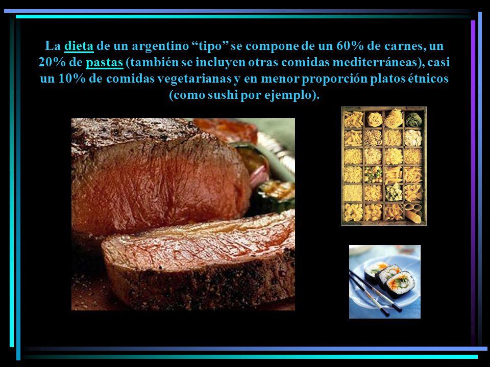 La dieta de un argentino tipo se compone de un 60% de carnes, un 20% de pastas (también se incluyen otras comidas mediterráneas), casi un 10% de comidas vegetarianas y en menor proporción platos étnicos (como sushi por ejemplo).
