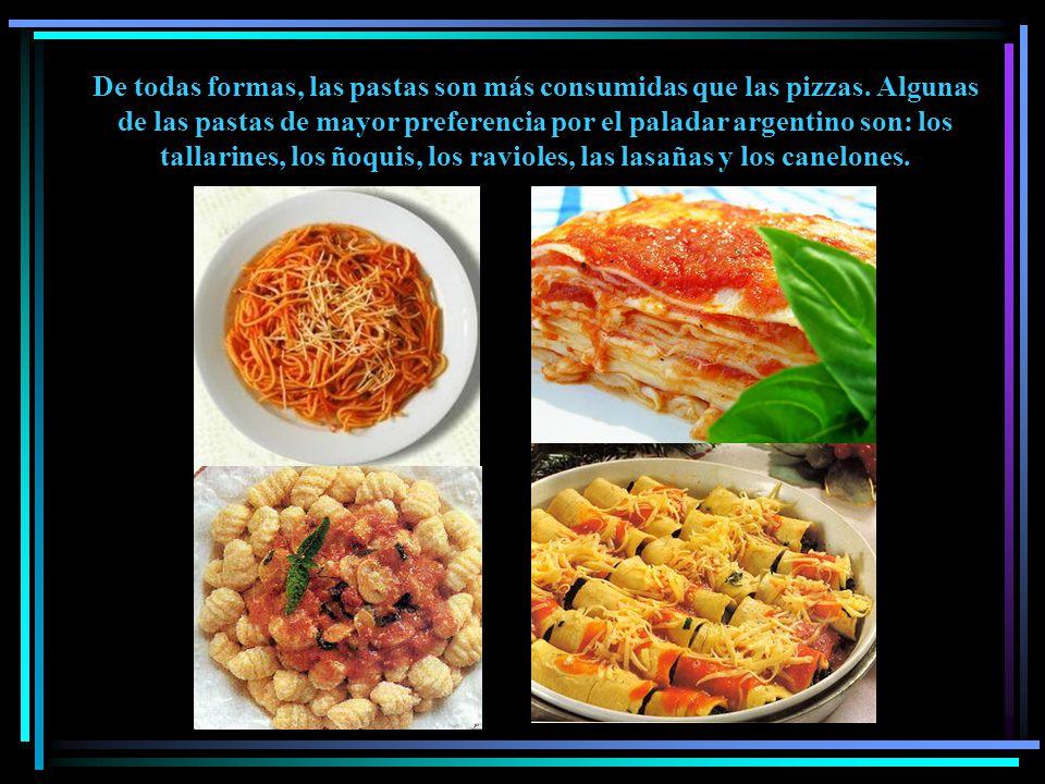 De todas formas, las pastas son más consumidas que las pizzas