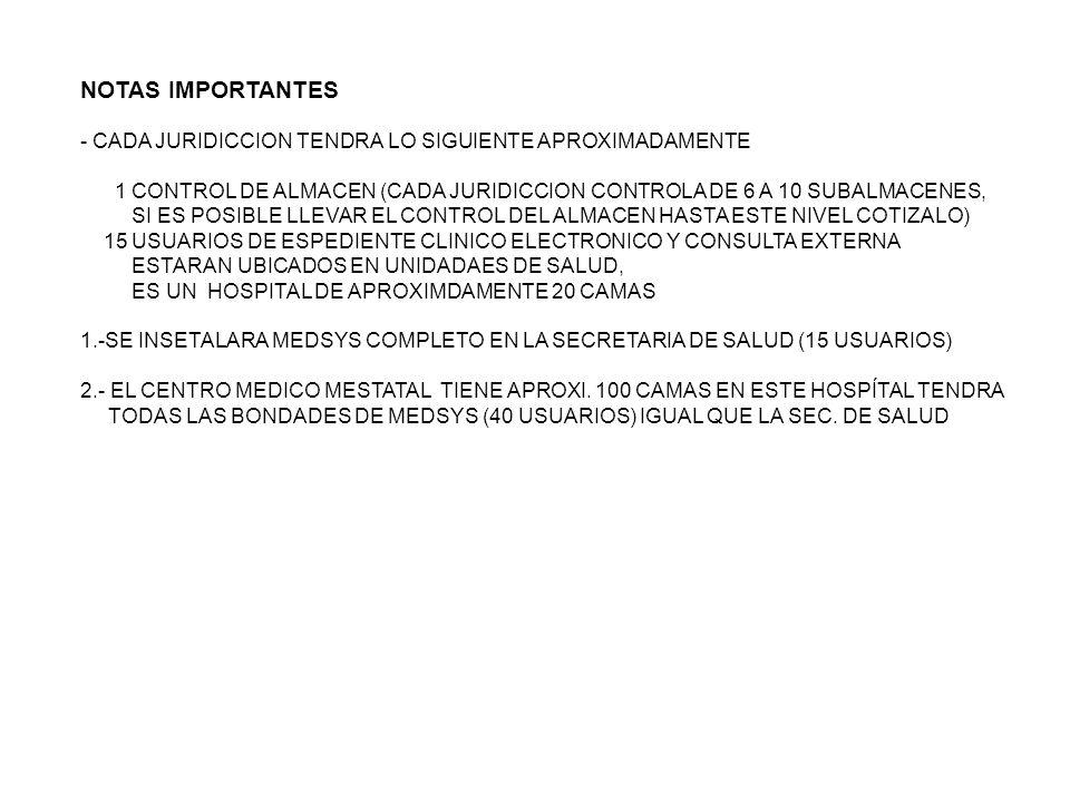 NOTAS IMPORTANTES - CADA JURIDICCION TENDRA LO SIGUIENTE APROXIMADAMENTE. 1 CONTROL DE ALMACEN (CADA JURIDICCION CONTROLA DE 6 A 10 SUBALMACENES,