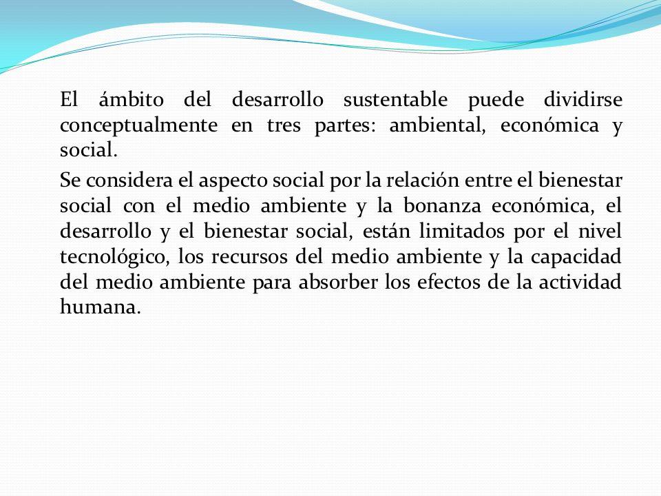 El ámbito del desarrollo sustentable puede dividirse conceptualmente en tres partes: ambiental, económica y social.