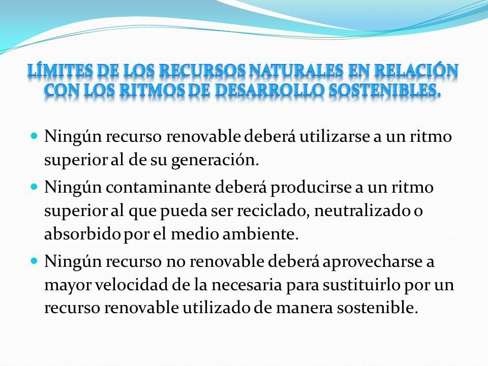 límites de los recursos naturales en relación con los ritmos de desarrollo sostenibles.