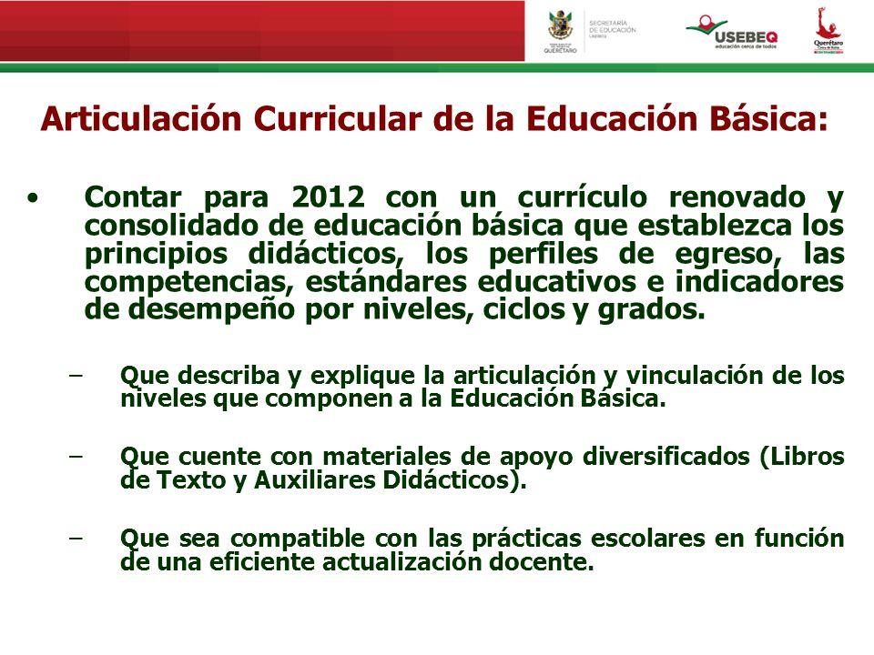 Articulación Curricular de la Educación Básica: