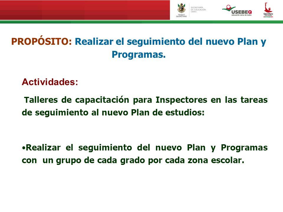 PROPÓSITO: Realizar el seguimiento del nuevo Plan y Programas.