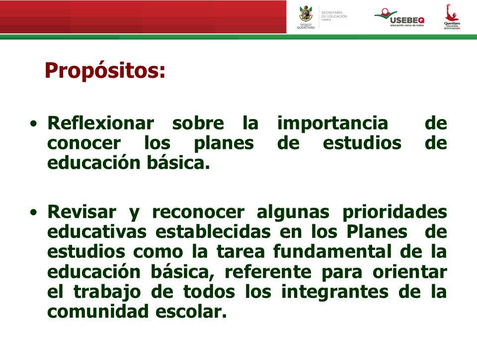 Propósitos: Reflexionar sobre la importancia de conocer los planes de estudios de educación básica.