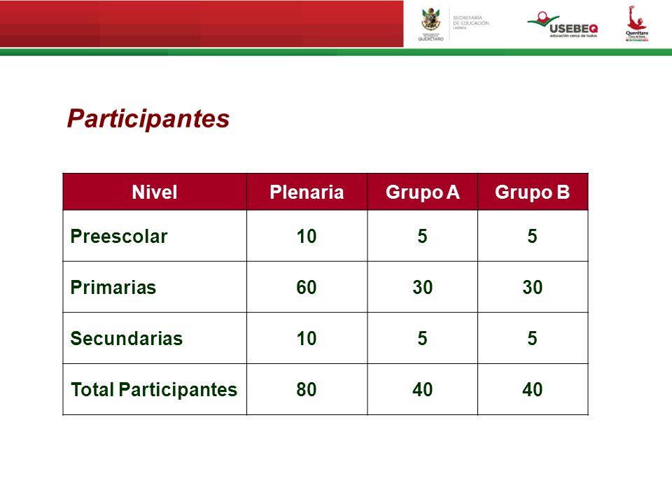 Participantes Nivel Plenaria Grupo A Grupo B Preescolar 10 5 Primarias