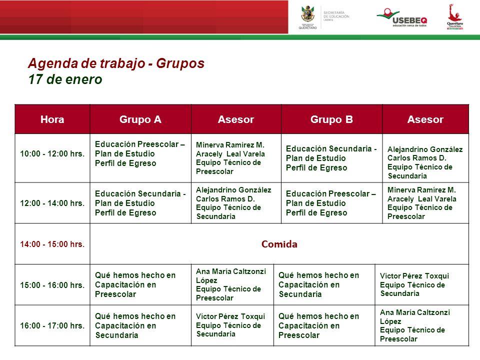 Agenda de trabajo - Grupos 17 de enero