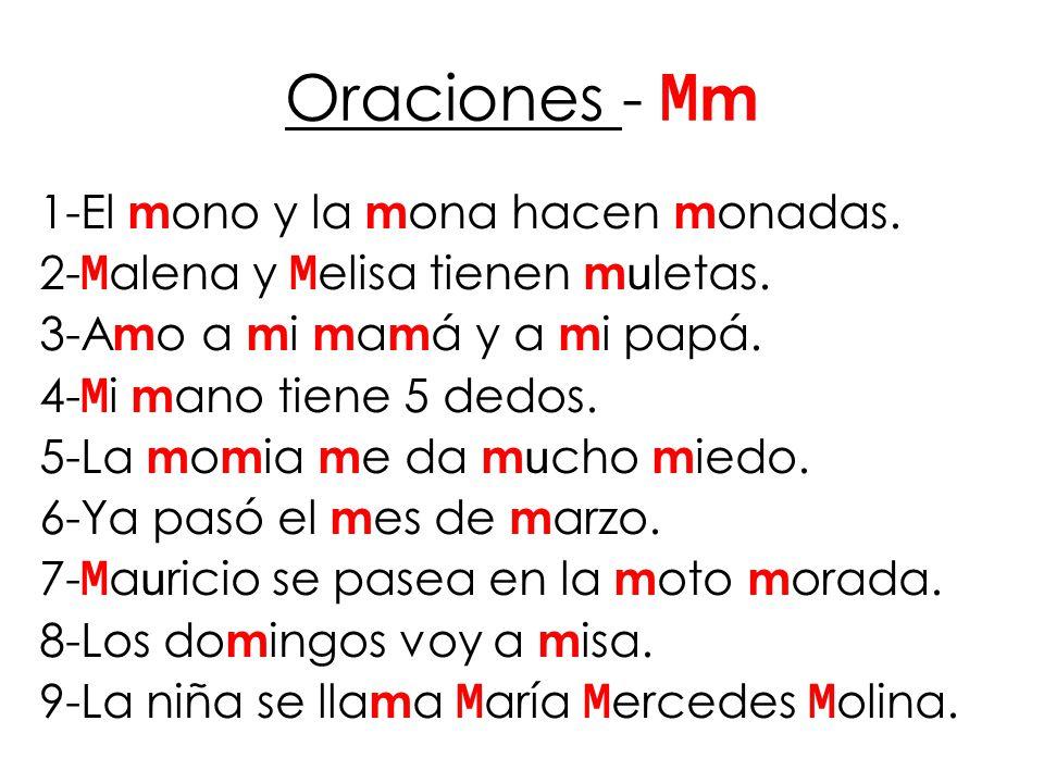 Oraciones - Mm 1-El mono y la mona hacen monadas.