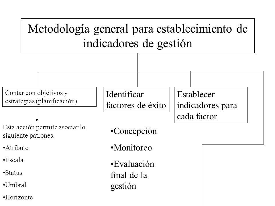 Metodología general para establecimiento de indicadores de gestión