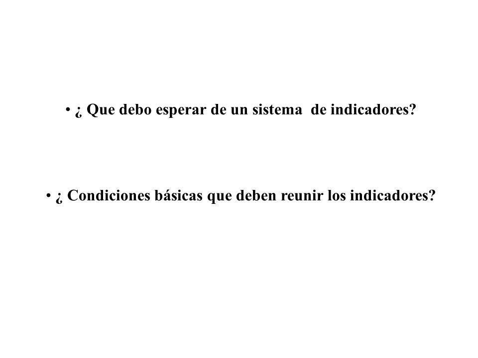 ¿ Condiciones básicas que deben reunir los indicadores