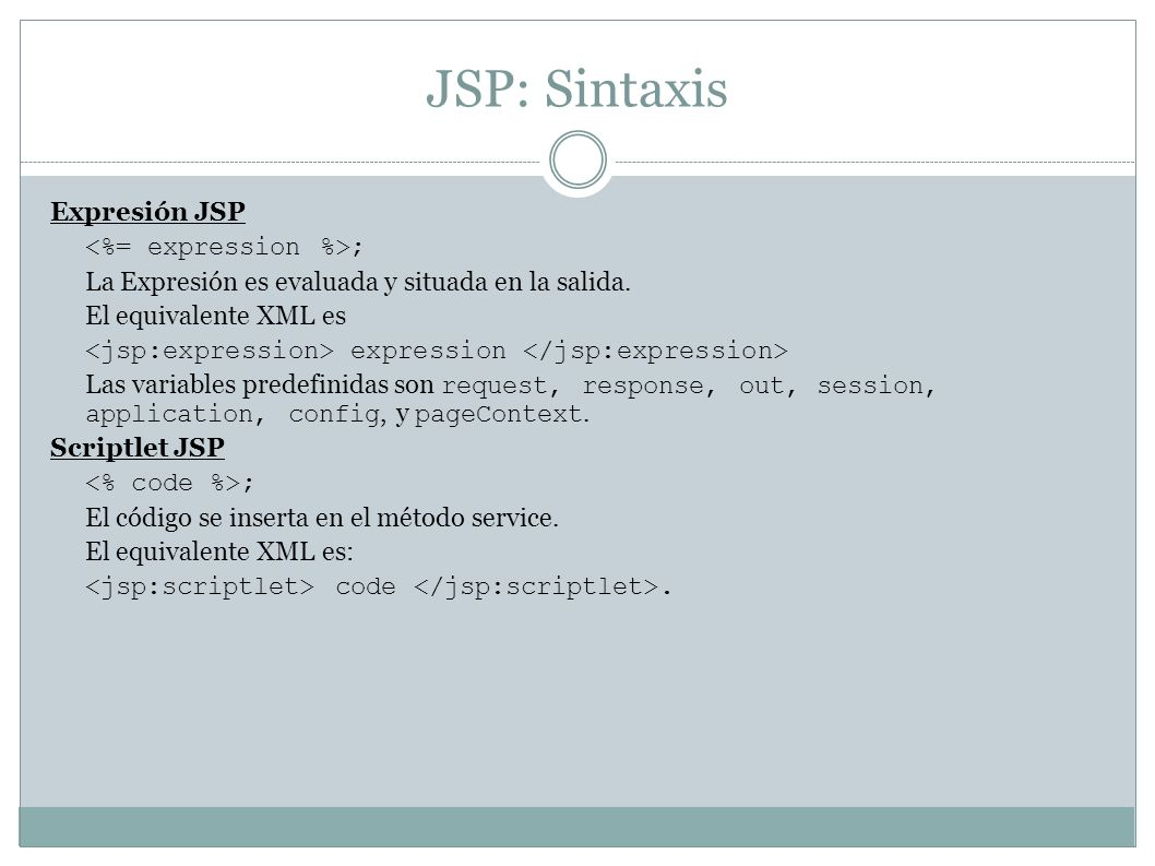 JSP: Sintaxis Expresión JSP <%= expression %>;