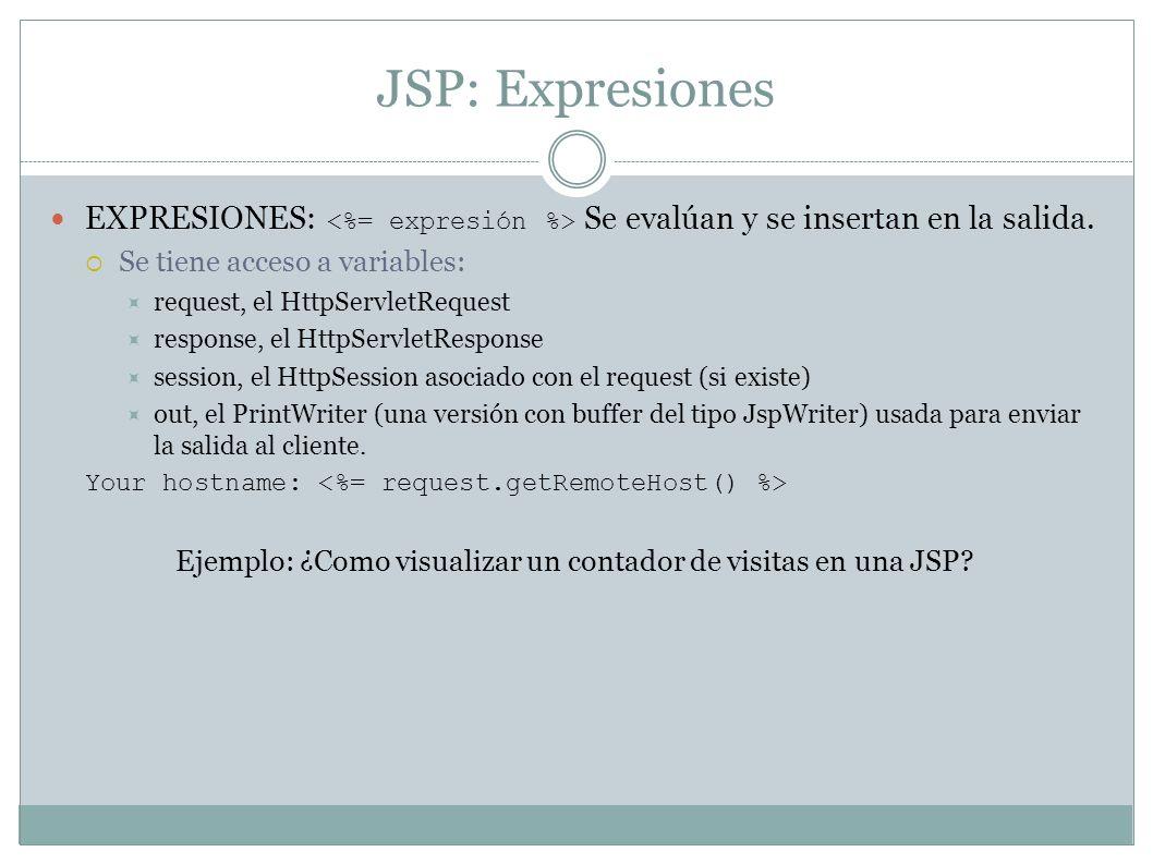 Ejemplo: ¿Como visualizar un contador de visitas en una JSP