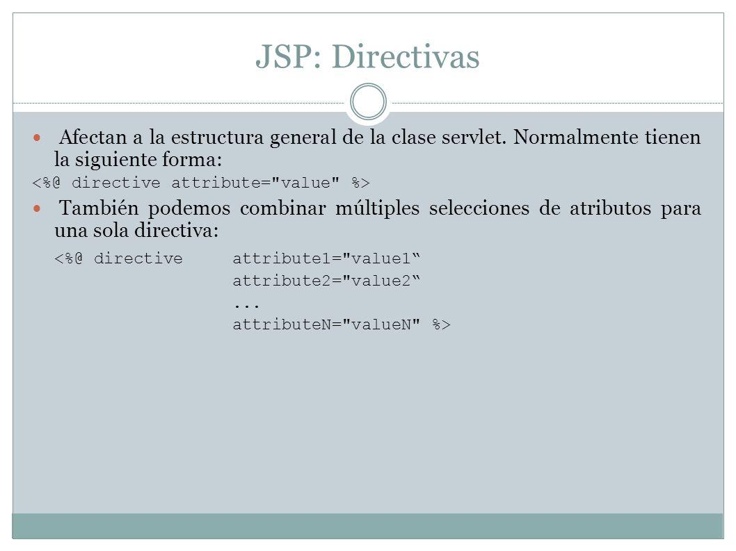JSP: Directivas Afectan a la estructura general de la clase servlet. Normalmente tienen la siguiente forma: