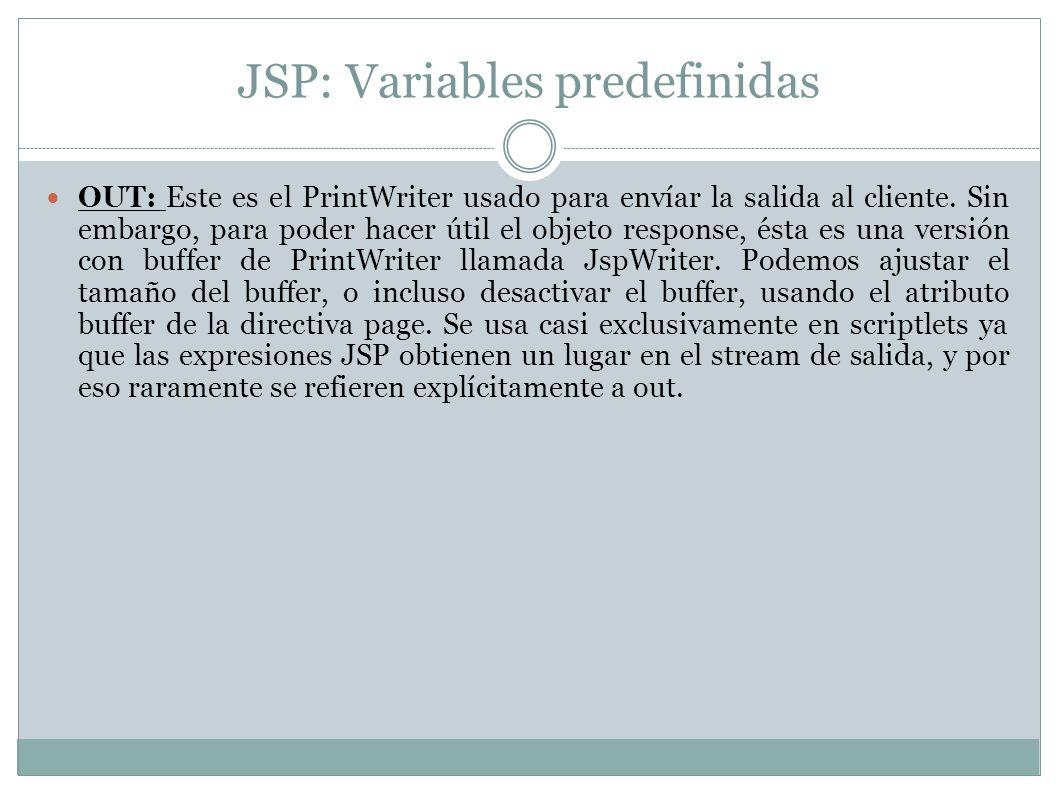 JSP: Variables predefinidas