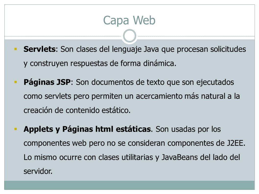 Capa Web Servlets: Son clases del lenguaje Java que procesan solicitudes y construyen respuestas de forma dinámica.
