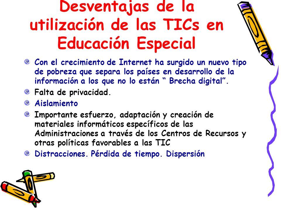 Desventajas de la utilización de las TICs en Educación Especial