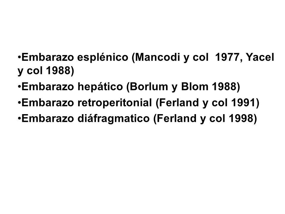Embarazo esplénico (Mancodi y col 1977, Yacel y col 1988)