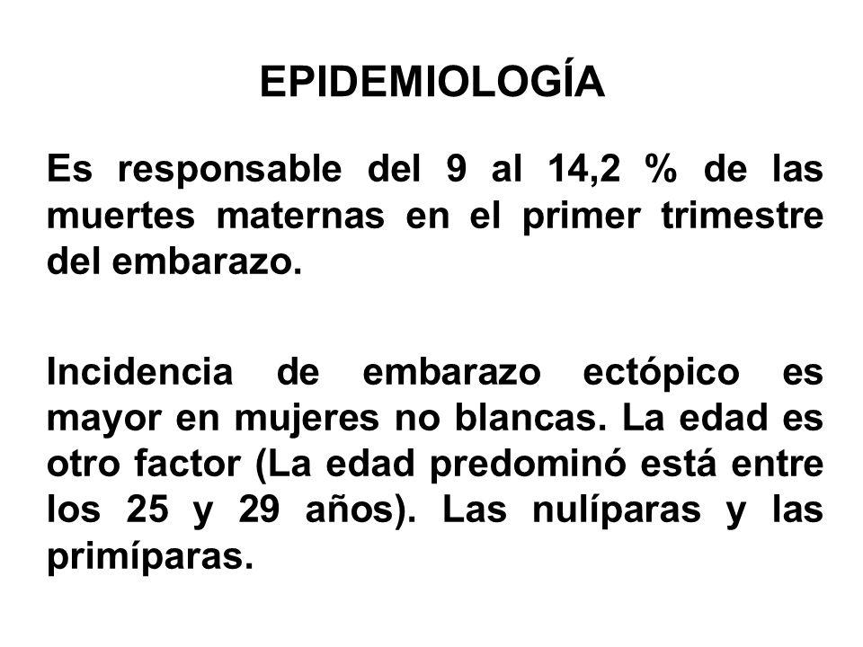 EPIDEMIOLOGÍA Es responsable del 9 al 14,2 % de las muertes maternas en el primer trimestre del embarazo.