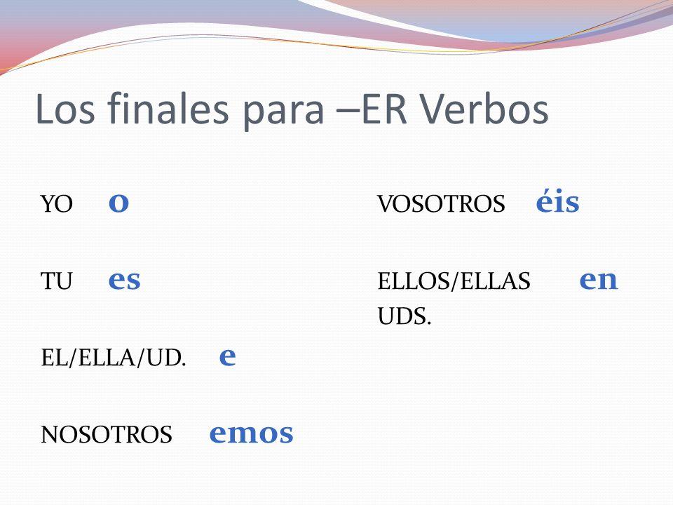 Los finales para –ER Verbos
