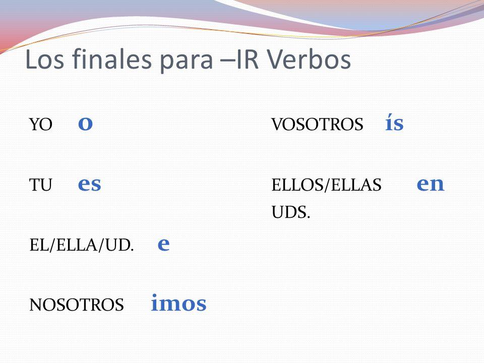 Los finales para –IR Verbos