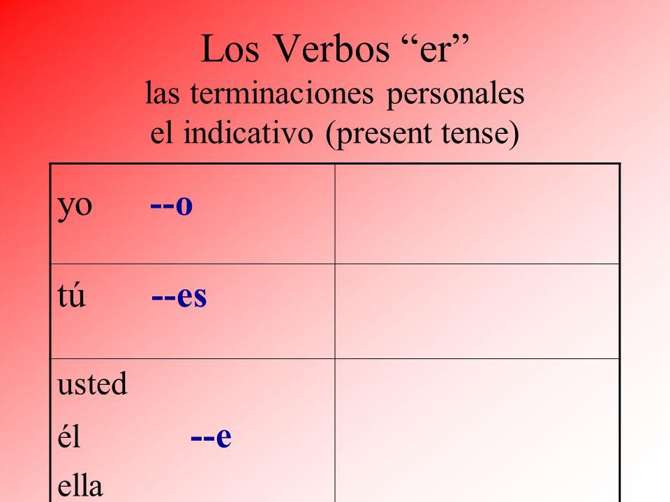 Los Verbos er las terminaciones personales el indicativo (present tense)