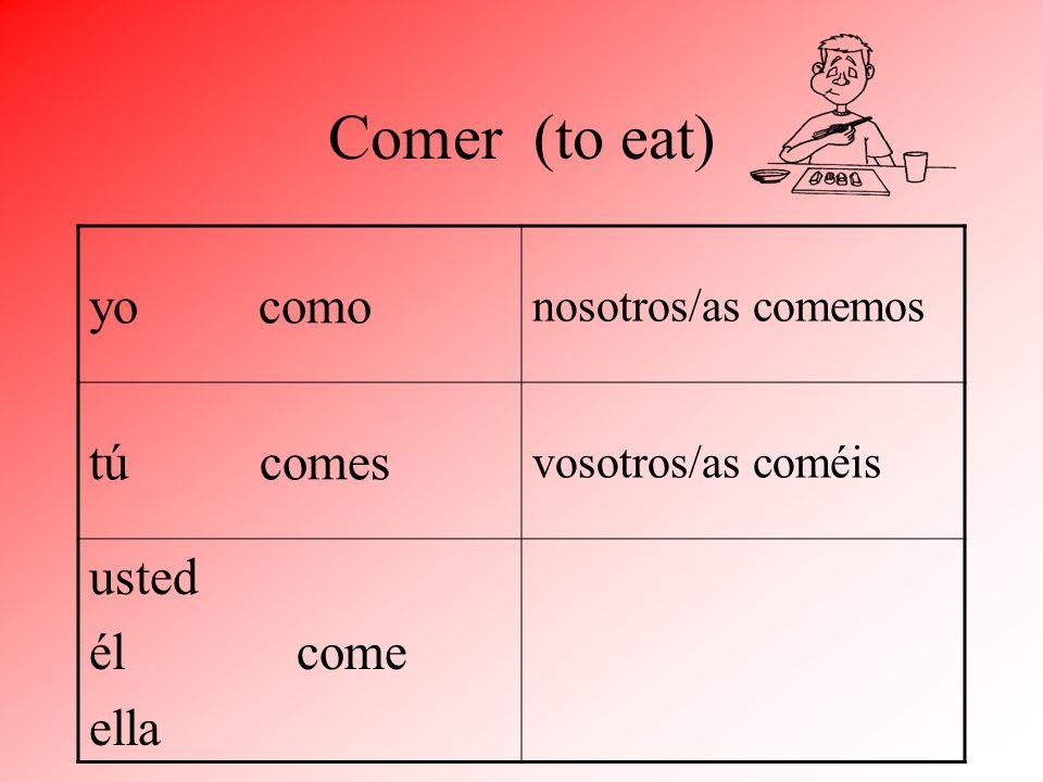 Comer (to eat) yo como tú comes usted él come ella nosotros/as comemos