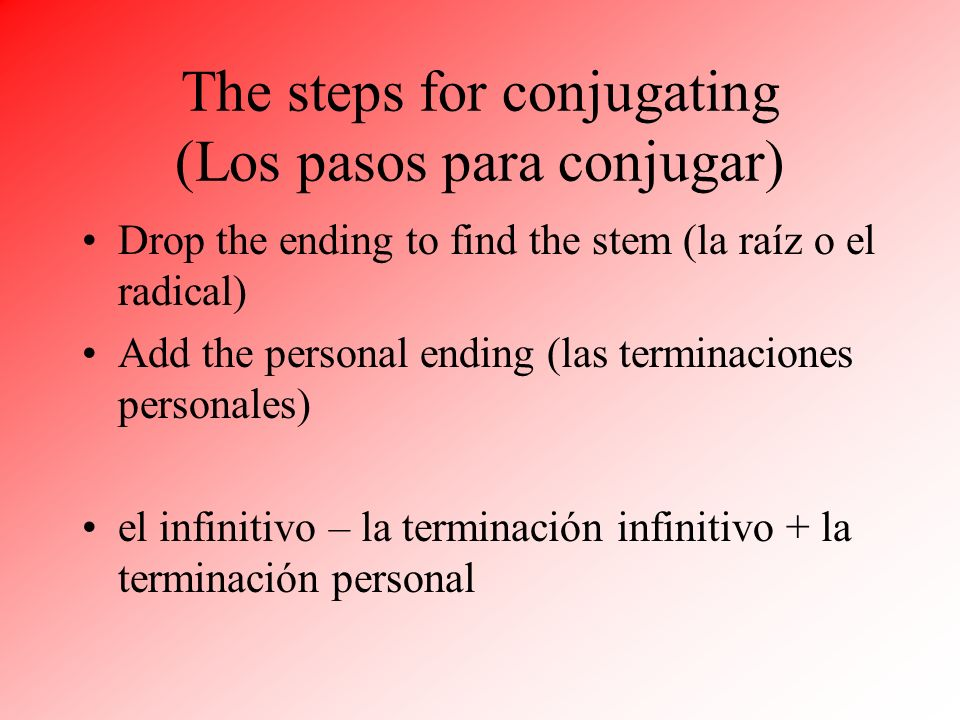The steps for conjugating (Los pasos para conjugar)