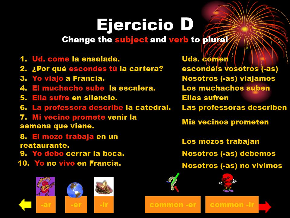 Ejercicio D Change the subject and verb to plural