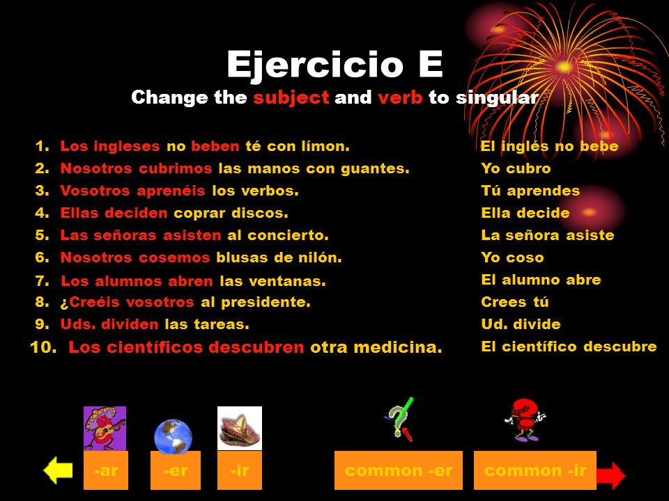 Ejercicio E Change the subject and verb to singular