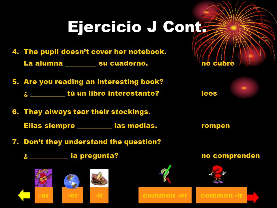 Ejercicio J Cont. 4. The pupil doesn't cover her notebook.