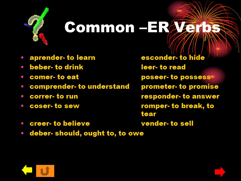 Common –ER Verbs aprender- to learn esconder- to hide
