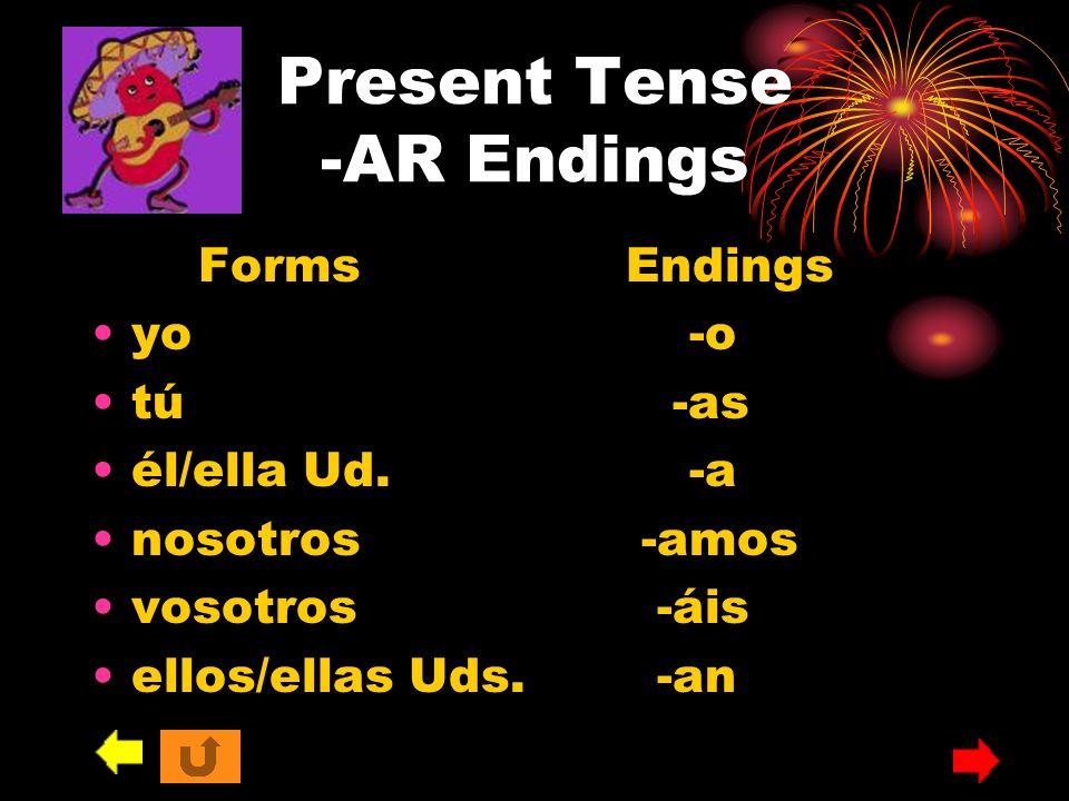 Present Tense -AR Endings