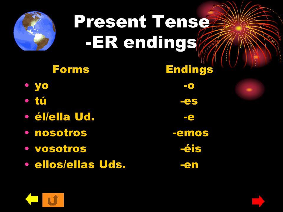 Present Tense -ER endings