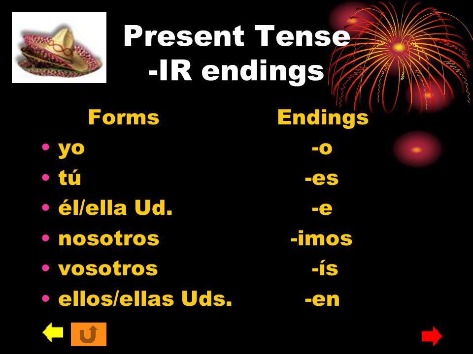Present Tense -IR endings