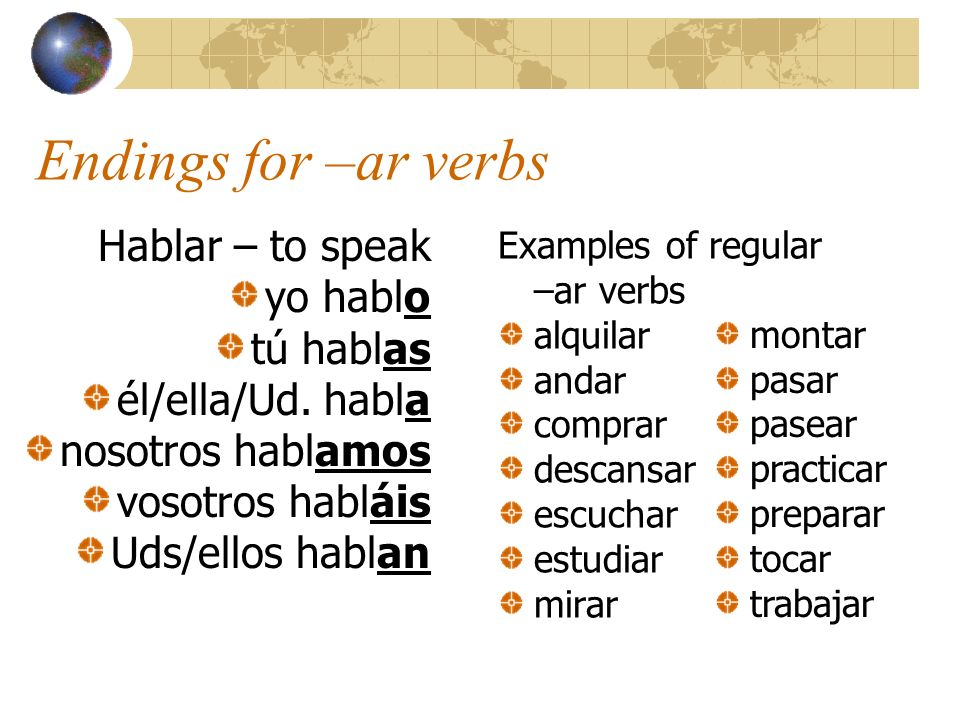 Endings for –ar verbs Hablar – to speak yo hablo tú hablas