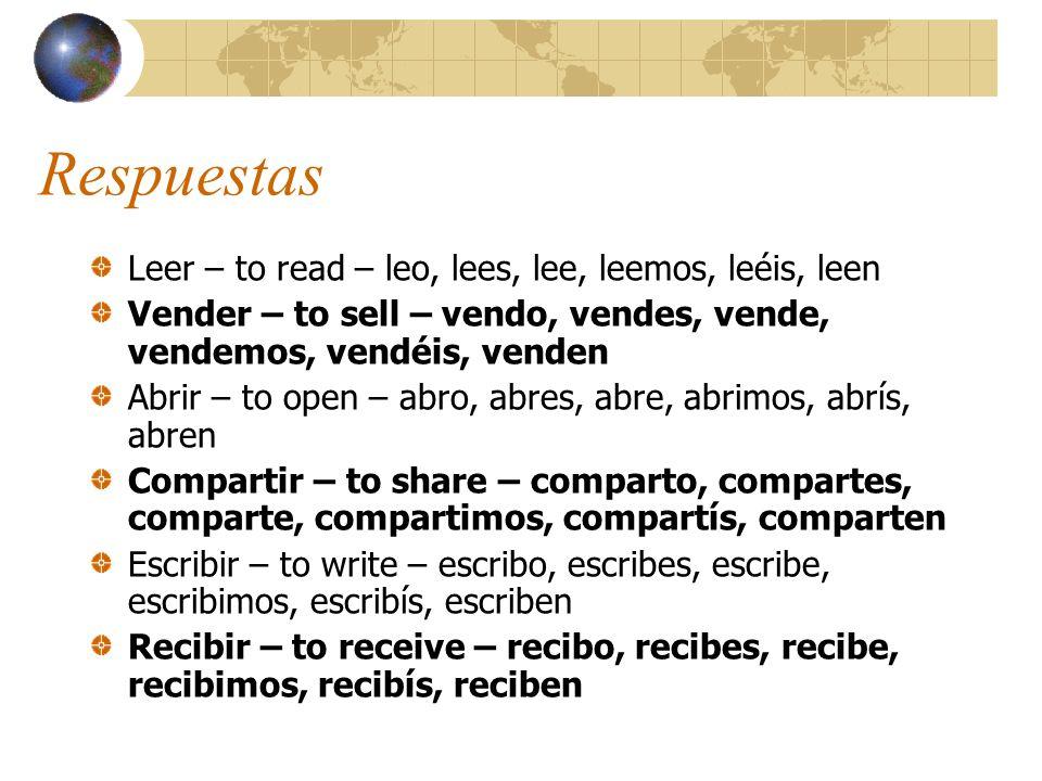 Respuestas Leer – to read – leo, lees, lee, leemos, leéis, leen
