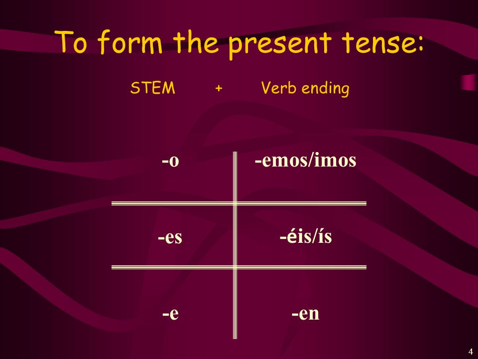 To form the present tense: