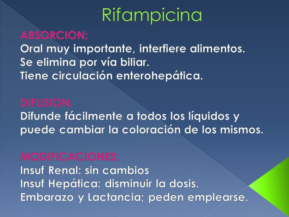 Rifampicina ABSORCION: Oral muy importante, interfiere alimentos.