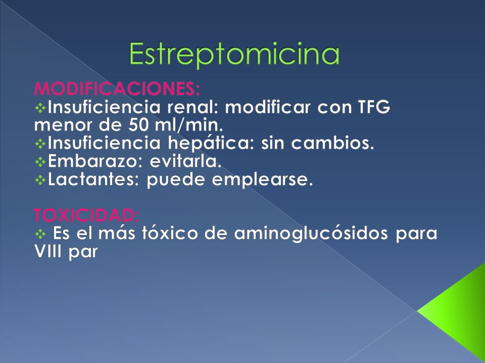 Estreptomicina MODIFICACIONES: