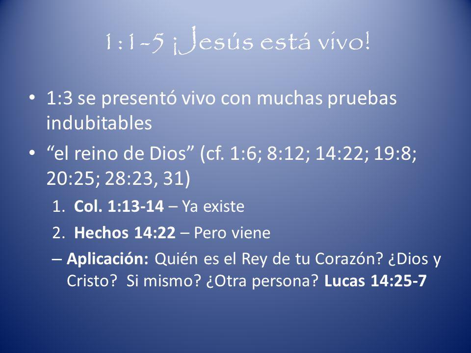 1:1-5 ¡Jesús está vivo!1:3 se presentó vivo con muchas pruebas indubitables. el reino de Dios (cf. 1:6; 8:12; 14:22; 19:8; 20:25; 28:23, 31)