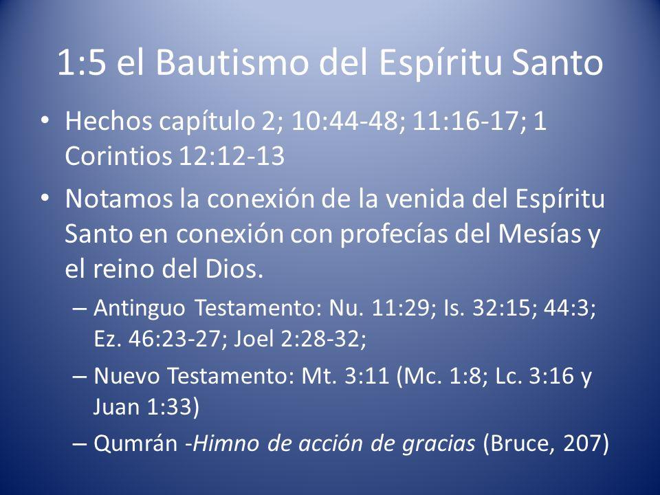 1:5 el Bautismo del Espíritu Santo