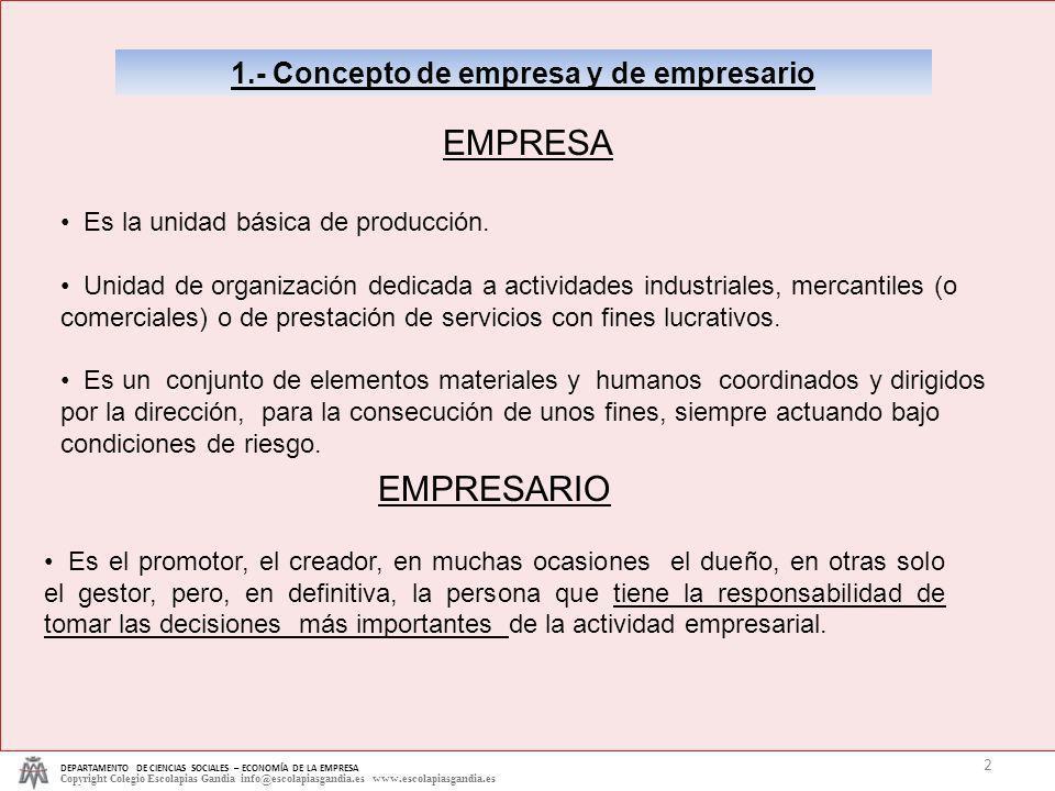 1.- Concepto de empresa y de empresario