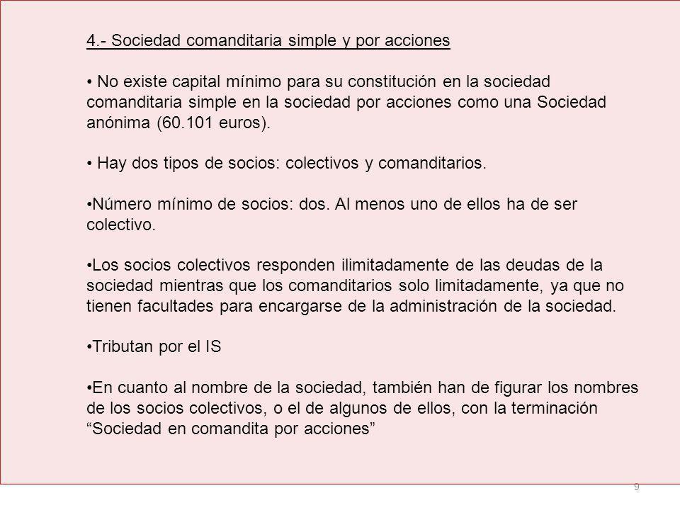 4.- Sociedad comanditaria simple y por acciones