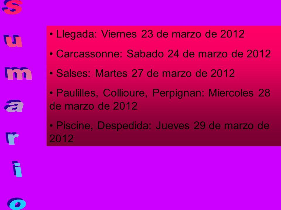 Sumario Llegada: Viernes 23 de marzo de 2012