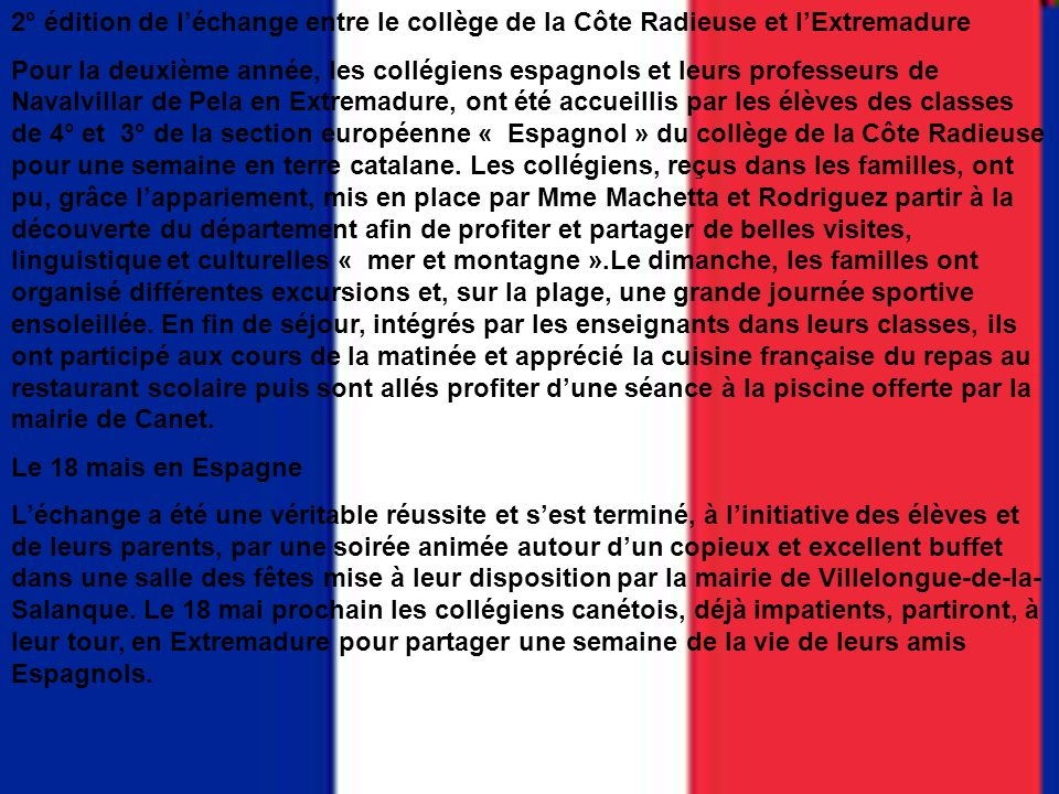 2° édition de l'échange entre le collège de la Côte Radieuse et l'Extremadure