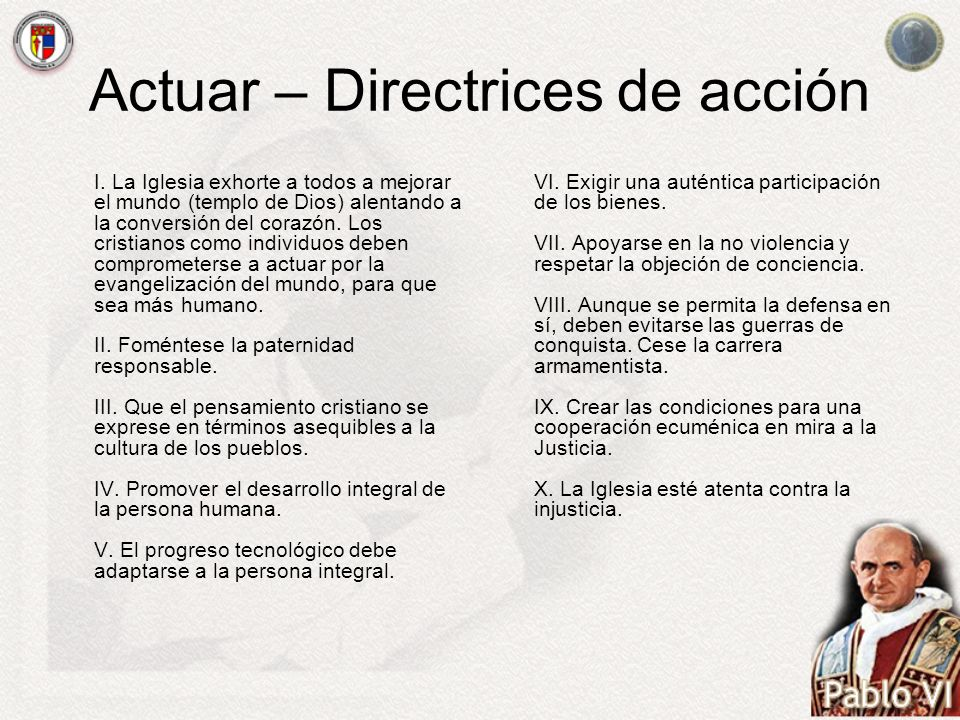 Actuar – Directrices de acción